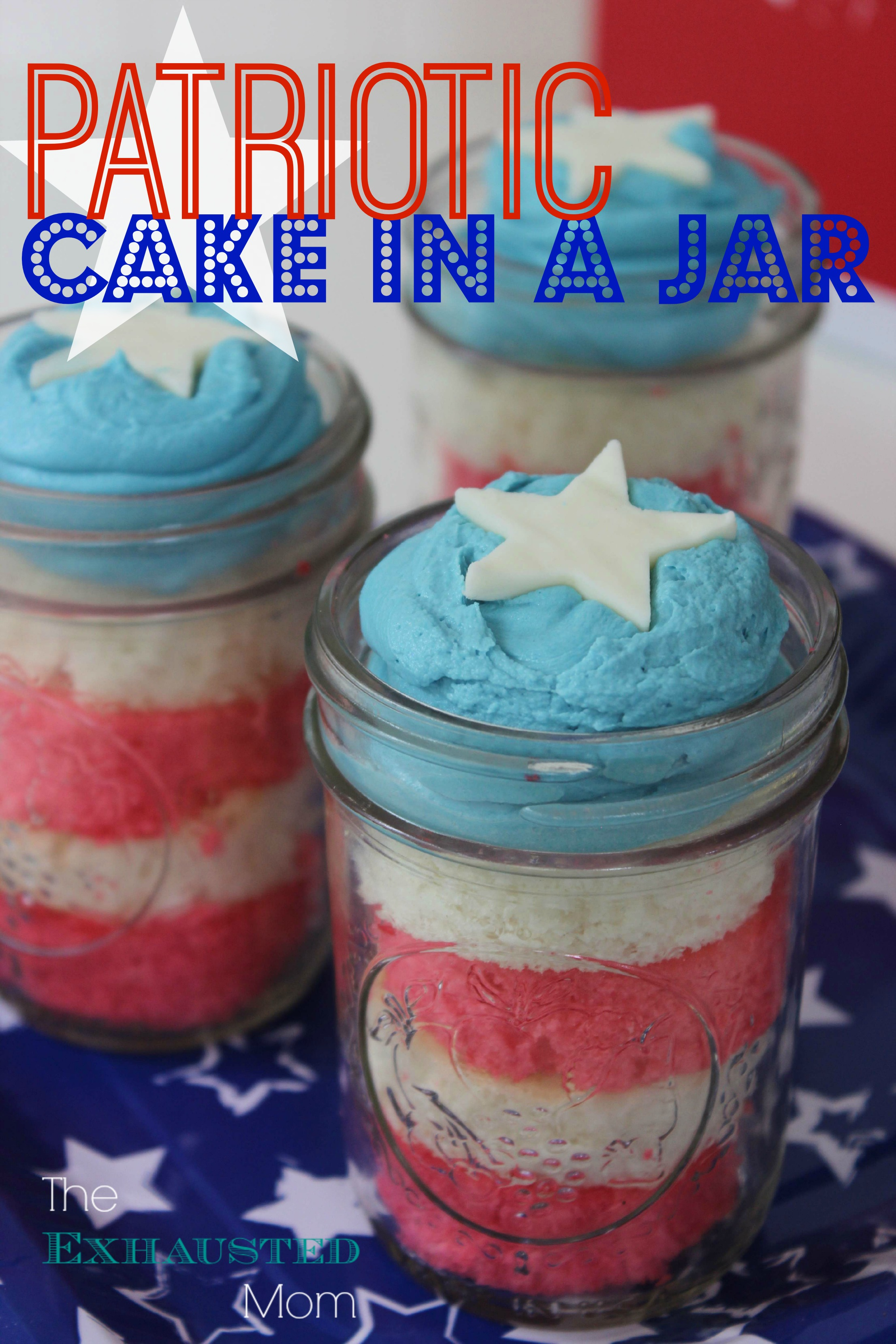 Patriotic Cake in a Jar