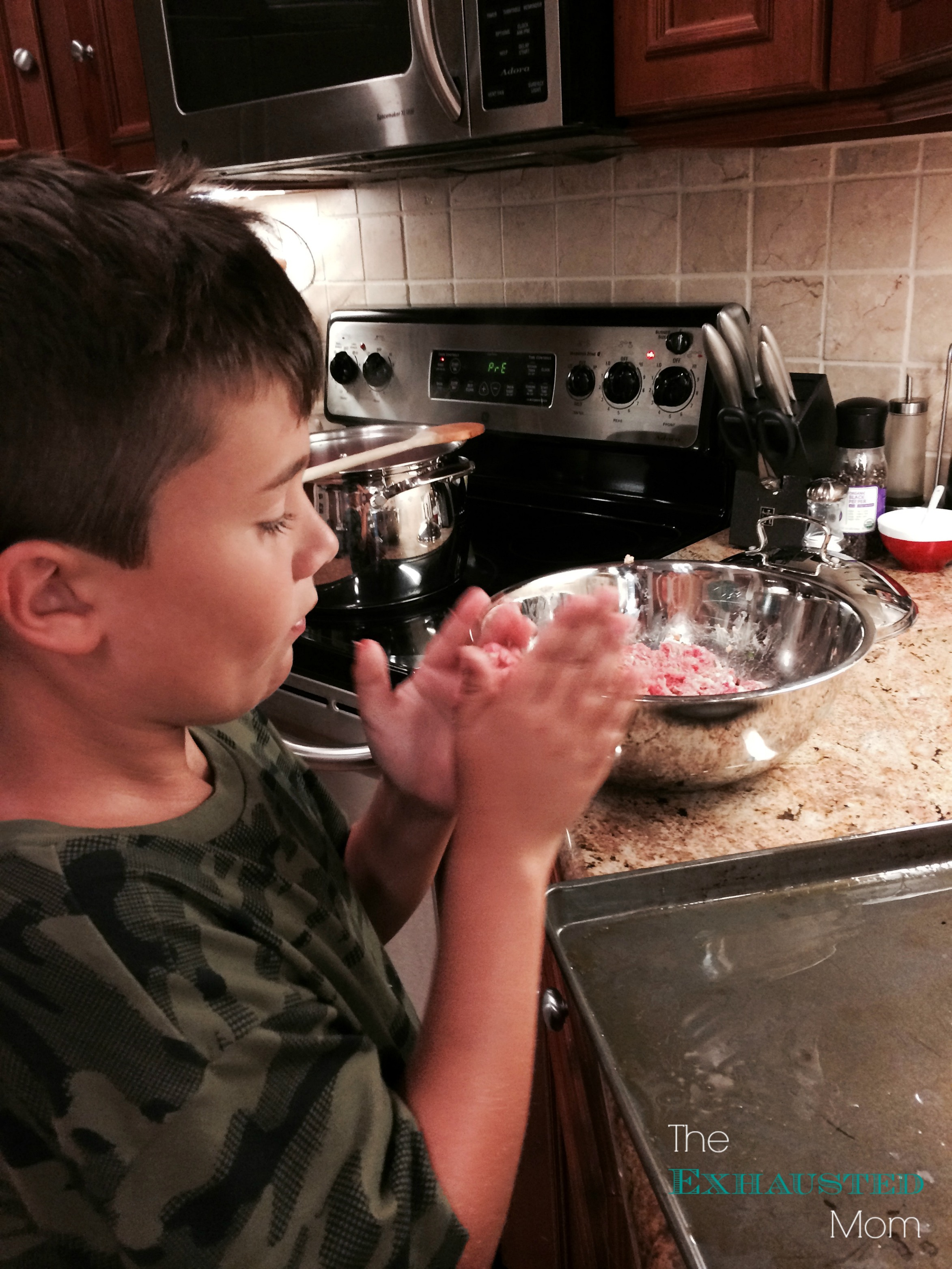 Using their hands as tools for cooking meatballs or making cookies is also a great age-appropriate skill.