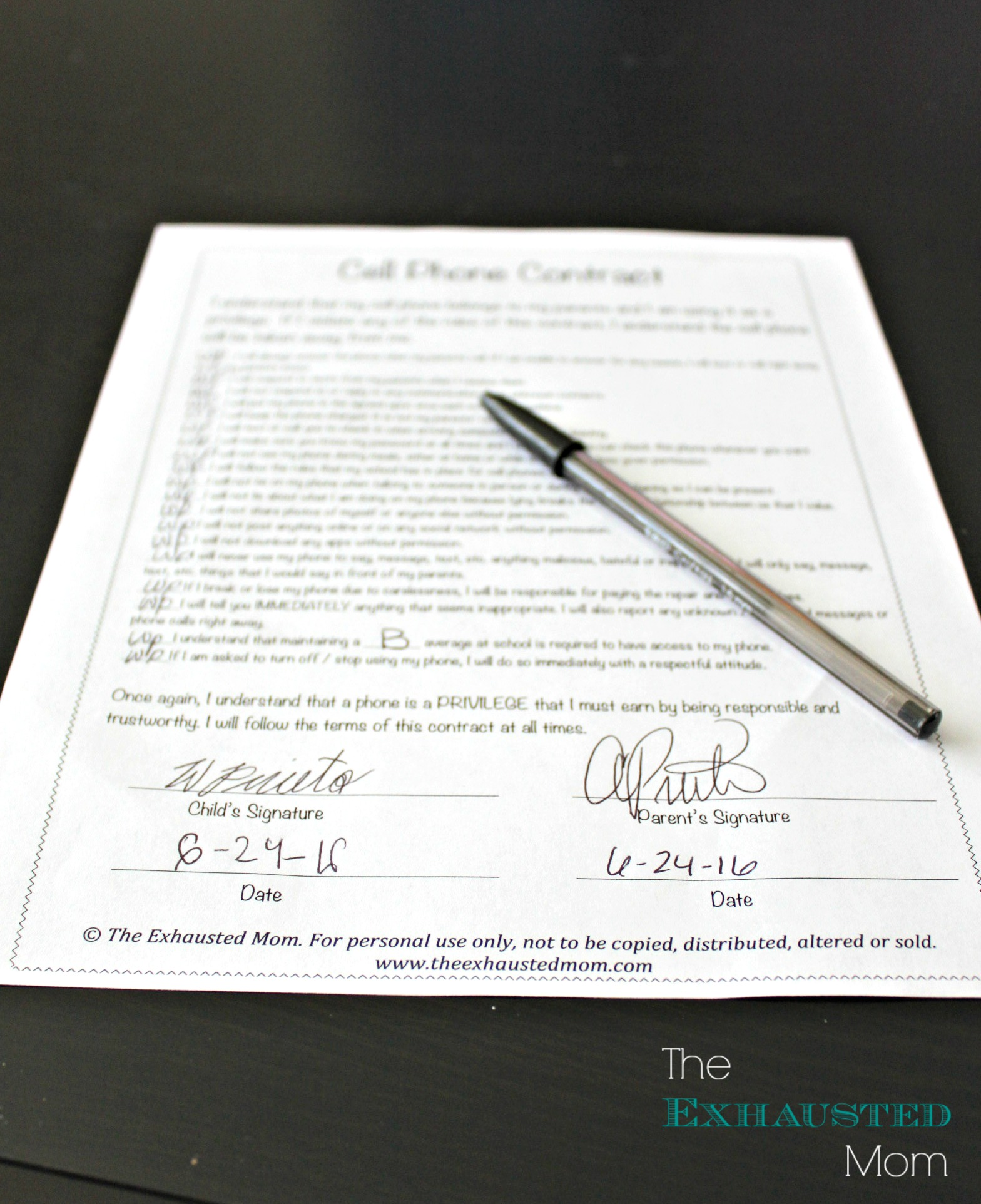 Cell Phone Contract for Tweens