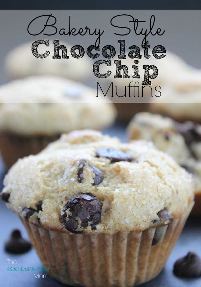 Bakery Style Chocolate Chip Muffins - The Exhausted Mom